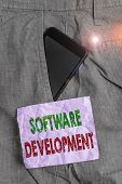 Handwriting Text Software Development. Concept Meaning Software Is Created Using A Specific Programm poster