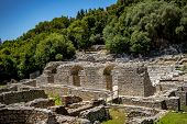 Central Palace Building Ruins. Beautiful Warm Spring Day And Archeological Ruins At Butrint National poster