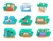 Modern Linear Pictogram Of Home Room And Types Furniture. Set Of Concept Line Icons Home Room And Ty poster