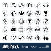 Holidays and celebration web icons set