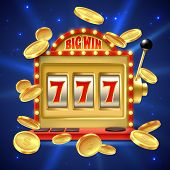 Slot Machine. Big Win In Casino Gamble, One Lever Armed Bandit With Numbers And Machined Reel. Fortu poster