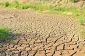 Dry Lake Or Swamp In The Process Of Drought And Lack Of Rain Or Moisture, A Global Natural Disaster. poster