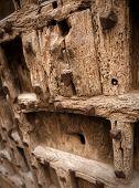 Ancient wooden door with weather beaten