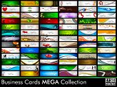 Mega collection of 78 abstract professional and designer business cards or visiting cards on differe