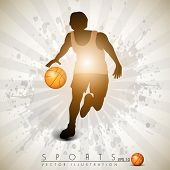 Illustration of a basketball player practicing with ball  on colorful shiny abstract grungy backgrou
