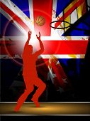 Illustration of a basketball player practicing with ball at court on flag abstract grungy background. EPS 10.