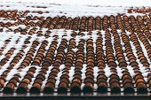 Tiled Clay Red Roof In The Snow. Medieval Old Roof In Winter. Clay Tiles In A Row. Tiled Background. poster
