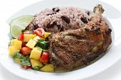 stock photo of jerks  - jerk chicken plate - JPG
