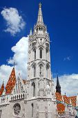Matthias Church, a church located in Budapest, Hungary, in front of the Fishermans Bastion at the h poster