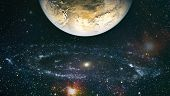 Beautiful Night Sky, Star In The Space. Planets, Stars And Galaxies In Outer Space Showing The Beaut poster