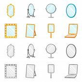 Vector Illustration Of Reflect And Piece Symbol. Set Of Reflect And Furniture Vector Icon For Stock. poster