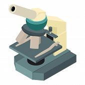 Science Microscope Icon. Isometric Of Science Microscope Vector Icon For Web Design Isolated On Whit poster