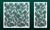 Set Of Panels For Laser Cutting. Templates For Wood Or Metal Cut, Fretwork Stencil, Paper Art. Flora poster