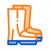 Waterproof Material Gumboots Shoes Vector Icon. Waterproof Material Felt Boots, Roller Painter Equip poster