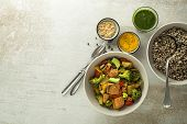 Healthy Meal With Quinoa, Salmon Fish And Mixed Vegetables On Grey Background Top View. Food And Hea poster