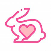 Animal Rabbit And Heart Vector Thin Line Icon. Testing Organic Cosmetic On Animal, Natural Component poster