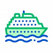 Public Transport Ferry Vector Thin Line Sign Icon. Sea Ship Boat Ferry, Urban Passenger Transport Li poster