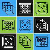 Set Line Game Dice, Game Dice And Online Poker Table Game Icon. Vector poster