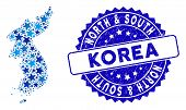 Blue North And South Korea Map Composition Of Stars, And Distress Rounded Stamp Seal. Abstract Terri poster