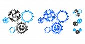 Gear Mechanism Mosaic Of Small Circles In Variable Sizes And Color Hues, Based On Gear Mechanism Ico poster