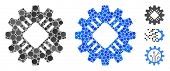 Hardware Gear Mosaic Of Round Dots In Different Sizes And Color Tints, Based On Hardware Gear Icon.  poster
