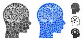 Brain Composition Of Round Dots In Different Sizes And Color Tints, Based On Brain Icon. Vector Roun poster