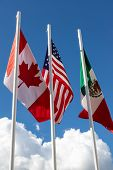 Flags Of United States, Mexico, Canada Flying Together, Concept Of New Nafta Agreement Now Known As  poster