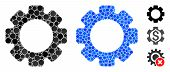 Gear Mosaic Of Filled Circles In Variable Sizes And Color Tones, Based On Gear Icon. Vector Filled C poster