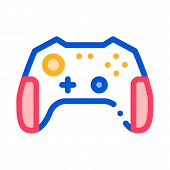 Interactive Kids Video Games Gamepad Vector Icon Thin Line. Video Play Controller Joystick Detail Ga poster