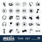 Media and arrows web icons set