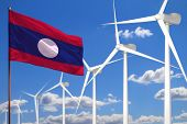 Lao People Democratic Republic Alternative Energy, Wind Energy Industrial Concept With Windmills And poster