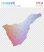 Tenerife Polygonal, Mosaic Style Island Map. Pleasing Low Poly Style, Modern Design For Infographics poster