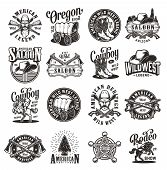 Vintage Wild West Emblems With Cowboys Hats Boots Saloon Doors Signboard Smoking Pipes Guns Rifles S poster