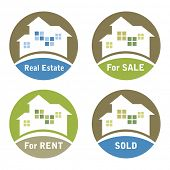Real estate signs - For Sale, For Rent, Sold.