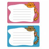 cartoon sticky tags with cat. wall paper sheets