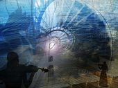 foto of chopin  - music metaphor with violins spiral stairs twigs silhouettes tower clock - JPG
