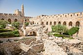 Tower of David is so named because Byzantine Christians believed the site to be the palace of King David. The current structure dates from the 1600's. Jerusalem, Israel
