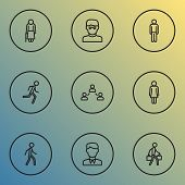 Human Icons Line Style Set With Jogging, Human, Contact And Other Man Elements. Isolated Illustratio poster
