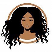 Icon Or Logo Design - Afro-american Woman With Wavy Black Hair poster