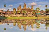 Angkor Wat And Reflecting Pool, Siem Reap, Cambodia. poster