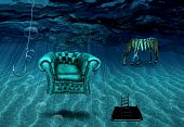 Surreal art. Armchair and striped horse are on a sea bottom. Fishing hook. Ladder from hole in sea b poster