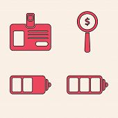 Set Battery Charge Level Indicator, Identification Badge, Magnifying Glass And Dollar Symbol And Bat poster