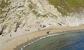 Costal Holiday Destination Near Dorset In South Of England During Summer poster