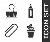Set Flowers In Pot, Binder Clip, Paper Clip And Marker Pen Icon. Vector poster