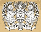 Heraldic Emblem With Bear Beast Holding Shield On Texture Background. Hand Drawn Engraved Illustrati poster