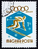 Postage stamp Hungary 1960 Downhill Skier, Olympic sports, Squaw