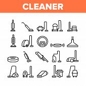 Vacuum Cleaner Device Collection Icons Set Vector Thin Line. Industrial And Household, Handheld And  poster