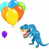 Vector Happy Blue Dinosaur Tyrannosaurs With Multi-colored Balloons