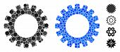 Gear Composition Of Filled Circles In Different Sizes And Color Tinges, Based On Gear Icon. Vector F poster