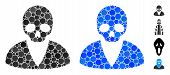 Death Man Mosaic Of Spheric Dots In Variable Sizes And Shades, Based On Death Man Icon. Vector Dots  poster